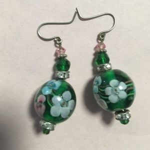 Jewelry - Green-Flower-Art-Glass-Bead-Pierced-Earrings
